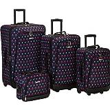 Rockland Reaction 4-Piece Softside Upright Luggage Set, Black Icon, (14/19/24/28)