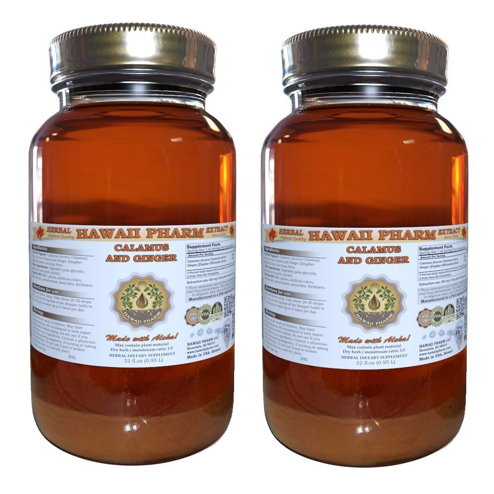 Calamus and Ginger Liquid Extract, Organic Calamus (Acorus calamus) and Organic Ginger (Zingiber officinalis) Dried Root Tincture Supplement 2x32 oz Unfiltered