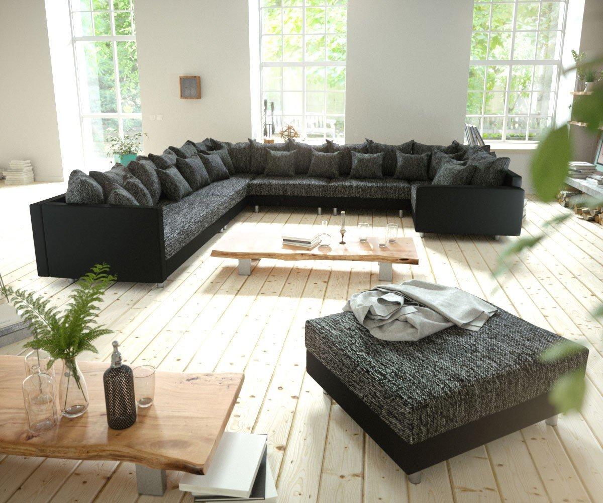Couch Clovis Xxl Schwarz Modulsofa Hocker Armlehne Ottomane Links