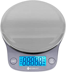 Etekcity 0.1g Food Kitchen Scale, Digital Weight Grams and Oz for Cooking, Baking, Meal Prep, and Diet, Large, Stainless Steel