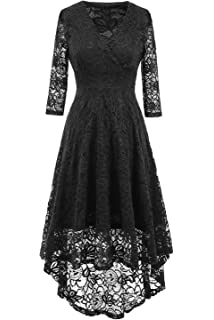 670e4c1ff1 NALATI Women Summer Dress Vintage Beautiful 50 s Retro Floral Lace Fabric  3 4 Long Sleeve