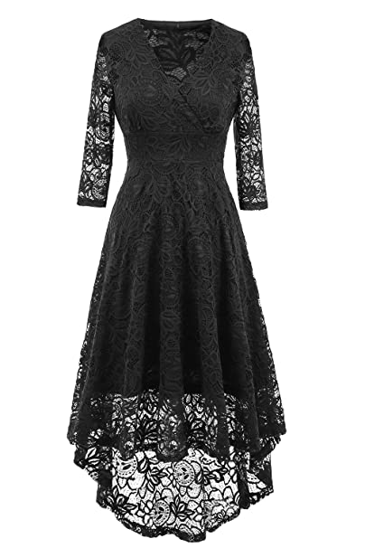 NALATI Women Summer Dress Vintage Beautiful 50 s Retro Floral Lace Fabric 3 4  Long Sleeve Deep V Neck High Waist High-Low Hip Lace Party Cocktail Midi  Swing ... 192a9159a5f0