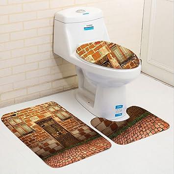 Keshia dwete tres piezas para inodoro asiento Pad customrustic colección con exterior de antiguo edificio de