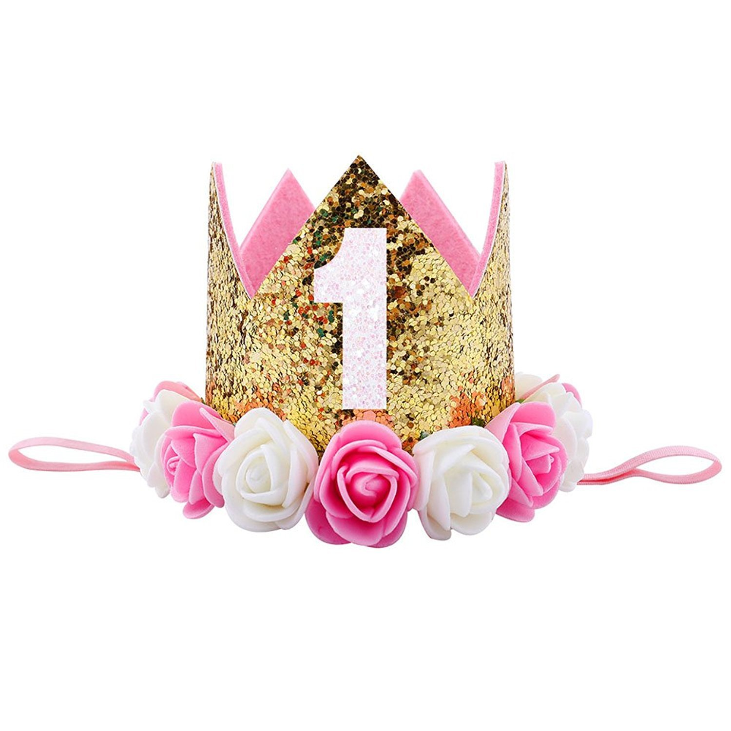 Auranso 1st Birthday Party Hat Headband Glitter Crown Headwear Flower Elastic Hair Band For Baby