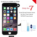for iPhone 7 Screen Replacement Full Assembly LCD Touch Digitizer Display with Front Camera Facing Proximity Sensor Ear Speaker Repair Tools and Screen Protector Black