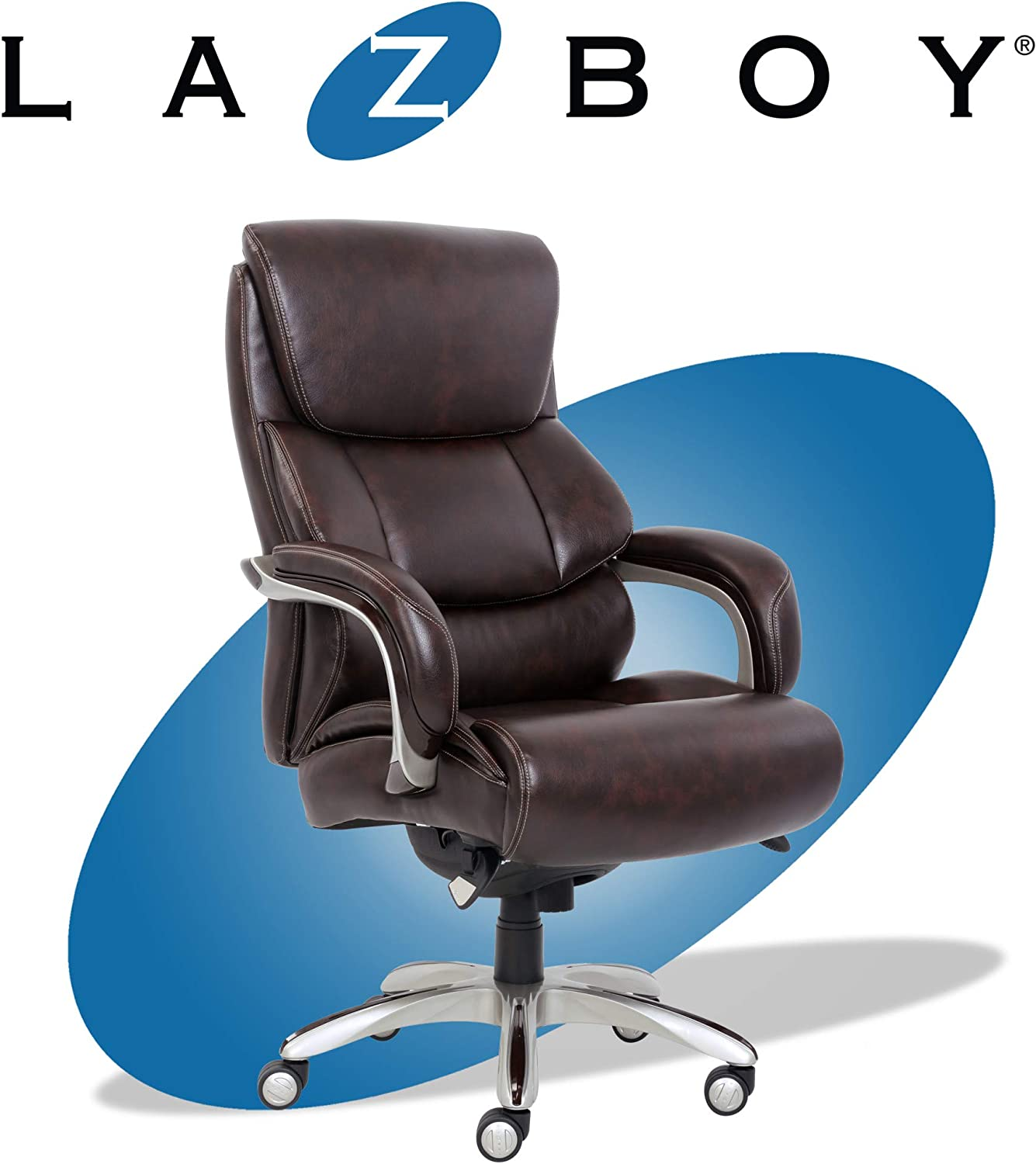 La-Z-Boy Executive Comfort Core Cushions, Office Chair with Black Wood  Accents, Bonded Leather, Dark Brown