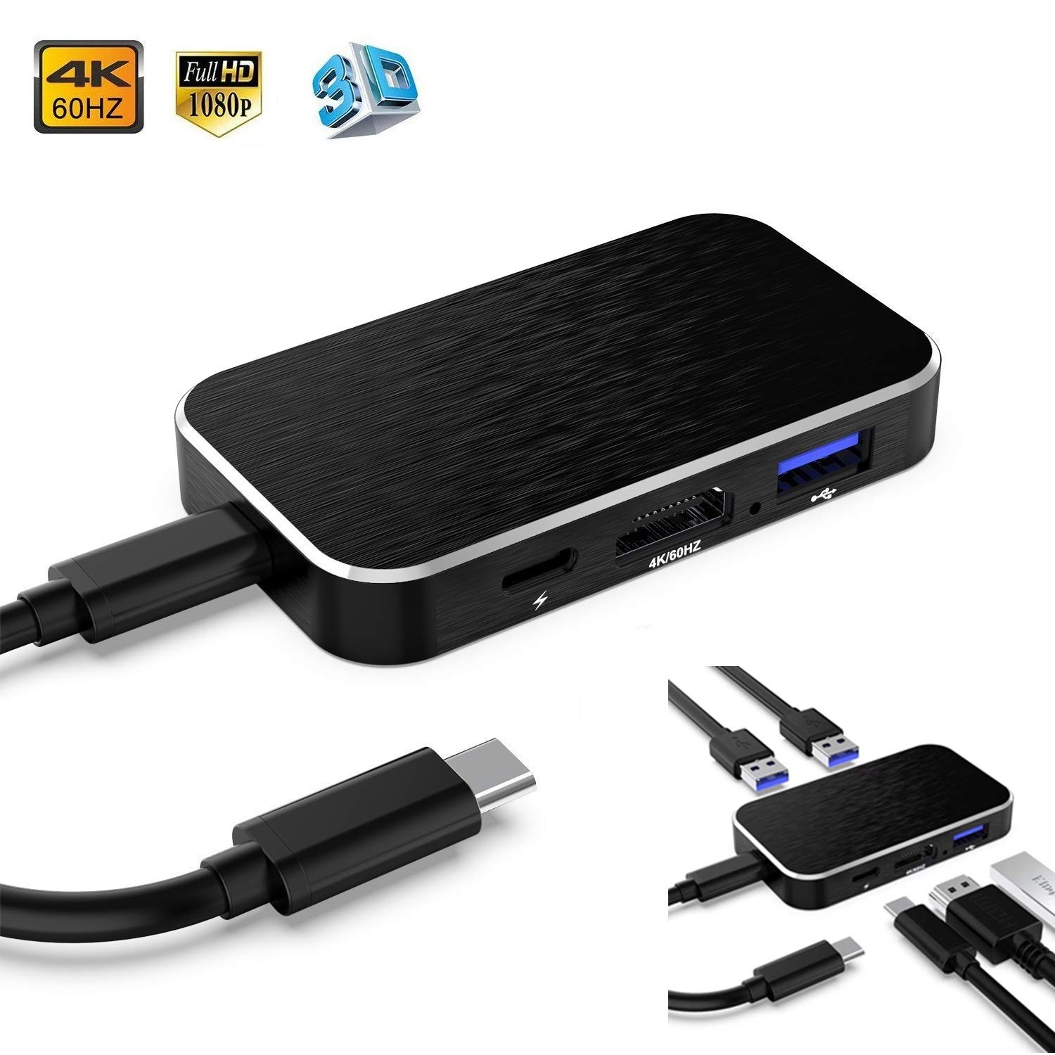 USB C Hub, 5-in-1 Type C Hub, USB C3.0 to HDMI 4K@60Hz,100w USB-C Power Delivery, Portable for MacBook Pro, Nintendo Switch and Other Type C Laptops and Phones