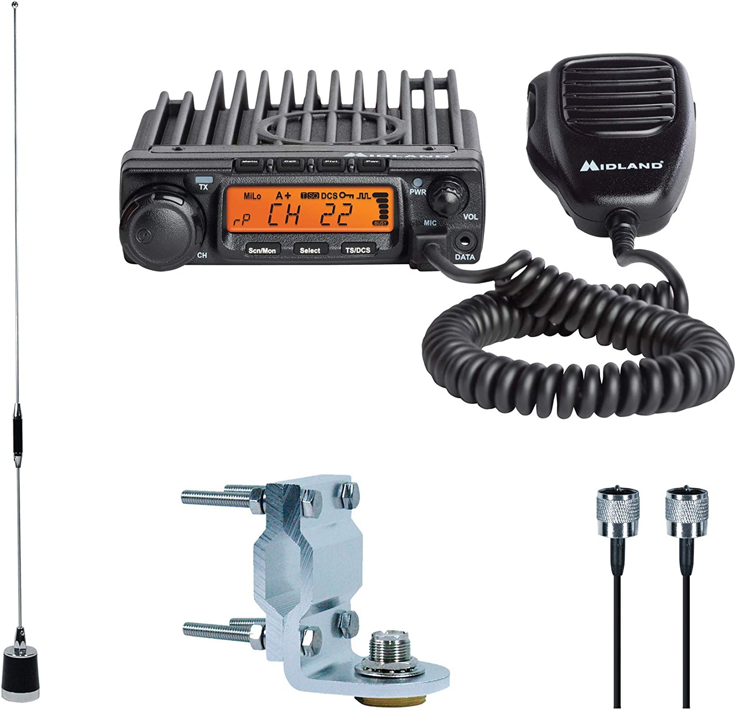 Midland – MXT400VP3, MicroMobile Bundle – MXT400 Two-Way Radio w 8 Repeater Channels, 142 Privacy Codes 6dB Gain Antenna w Antenna Mounting Bracket, MXTA8 6M Antenna Cord Single Pack Black