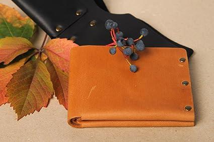Cartera de mujer accesorio artesanal regalo original de cuero natural marron