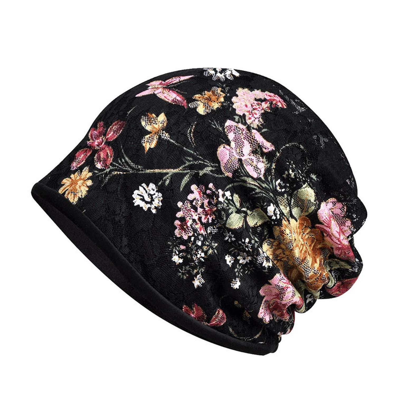 Multi-Function Velvet Floral Beanies Warm Collar Scarf Winter Beanie Hats for Women Outdoor Sport Cap Baggy