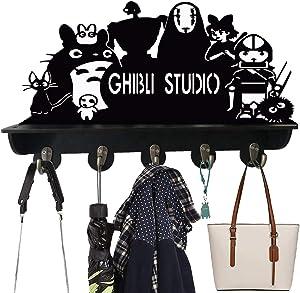 Studio Ghibli Totoro Wall Hook Coat Rack Shelf with 5 Strong Hooks Key Holder Key Hooks Wood Modern Display Home Decor Furniture (Totoro#4)