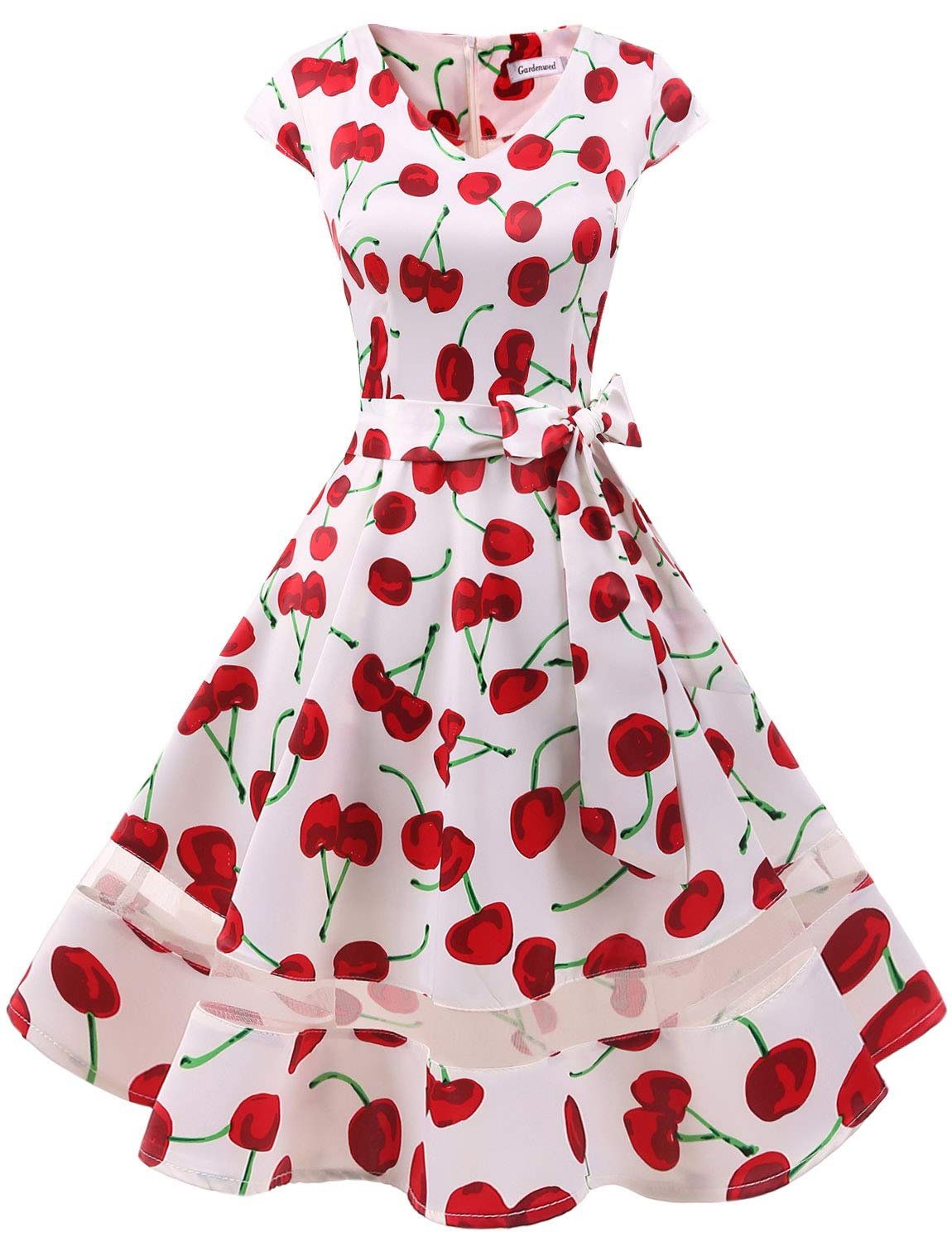 2b7dc5e2c23 Gardenwed Women s 1950s Rockabilly Cocktail Party Dress Retro Vintage Swing  Dress Cap-Sleeve V Neck White Cherry-L