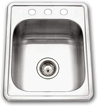 HOUZER Single Bowl Kitchen Sink 2 Hole Bar//Prep Drop In Satin Stainless Steel