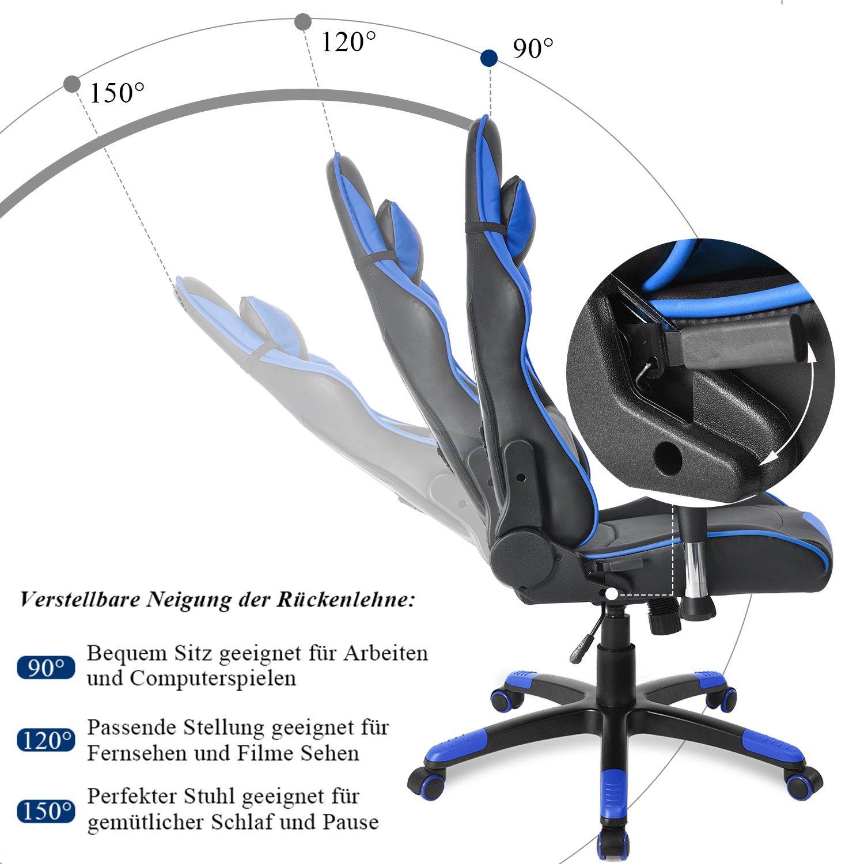 Merax Gaming Stuhl Racing Stuhl Schreibtischstuhl mit Kunstlederbezug//verstellbare Armlehnen/& R/ückenlehne//Vier Farbauswahl Schwarz - Blau