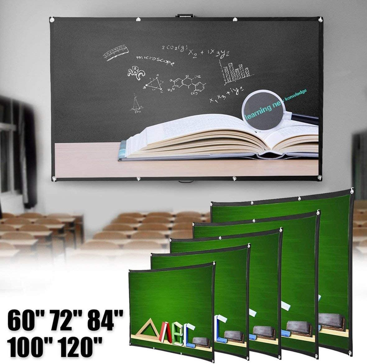 Pennytupu Portable Foldable Movie Projector Screen 16:9 Projection HD Home Theater Screen for Party Meeting Public Display
