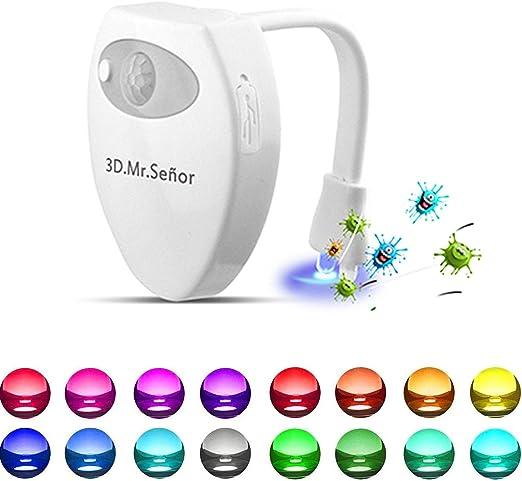 Wc Luz Nocturna Led 3d Mr Señor Versión última Uv Esterilizador 16 Colores Sensor De Movimiento Luz Led Automática Inodoro Luz Para Baño Facil De Limpia Y Usar 100 Impermeable Amazon Es Iluminación