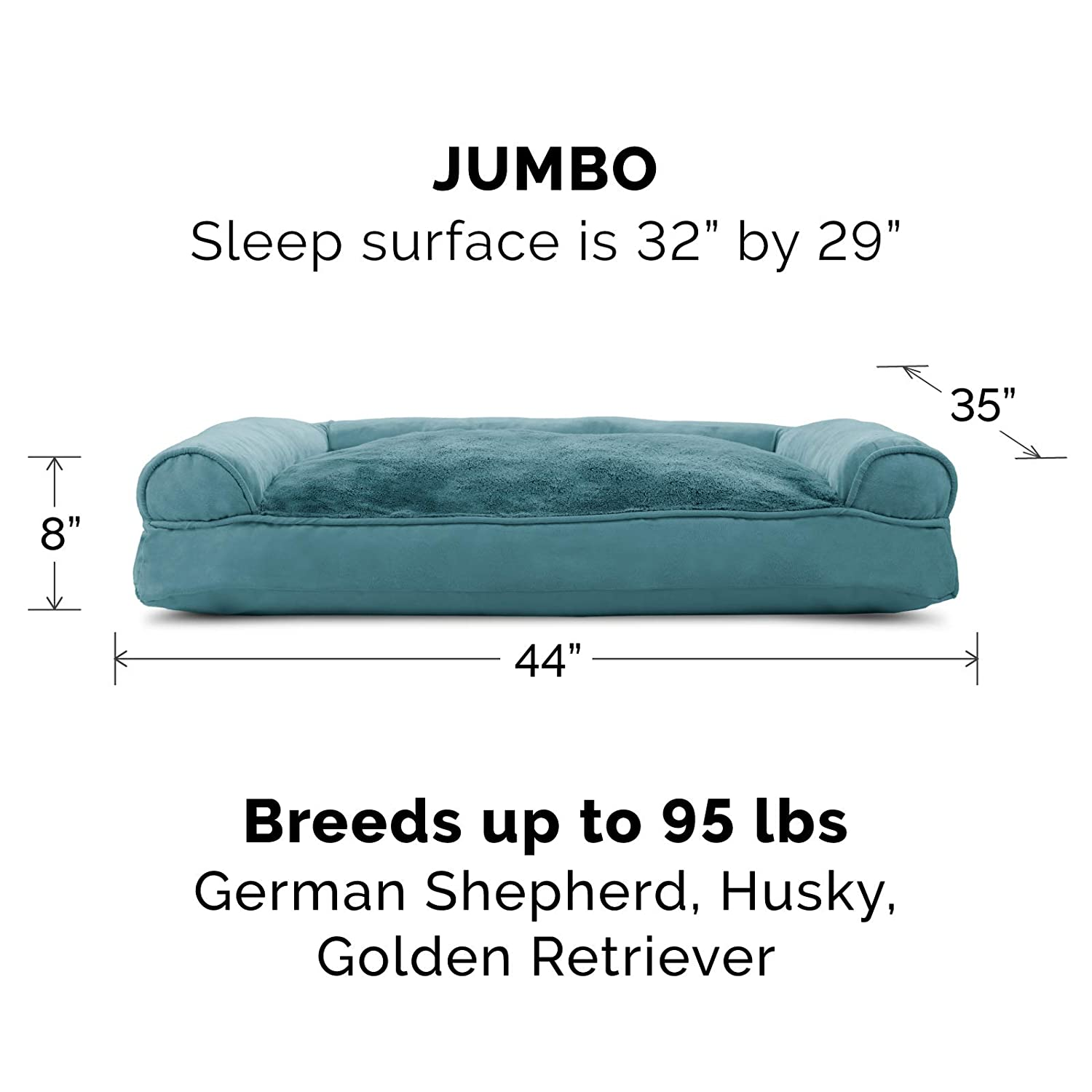 Diamond Blue Plush /& Decor Comfy Couch Pillow Sofa-Style Couch Pet Bed for Dogs /& Cats FurHaven Pet Dog Bed Jumbo