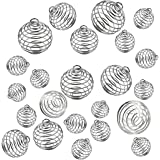 JIALEEY Spiral Bead Cages Pendants, 30 PCs 3 Sizes Silver Plated Stone Holder Necklace Cage Pendants Findings for…