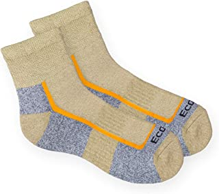 product image for EcoSox Diabetic Bamboo Viscose - Medium Weight Quarter Hiking Sock - [ Quanity Options ] (Tan/Grey (One Pair), Large 10-13)