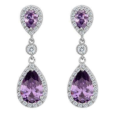Clearine Women's 925 Sterling Silver Wedding Bridal Cubic Zirconia Infinity Teardrop Halo Pierced Dangle Earrings LJQEBFIil