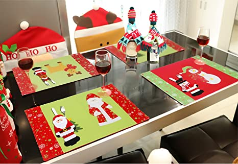 wiliboat 11 pcs christmas dining table decorations set 3pcs table placemats dinner mat 2pcs wine
