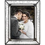 J Devlin Glass Art Clear Vintage Stained Glass Picture Frame Tabletop 5 x 7 Photo Wedding Pic 380-57HV