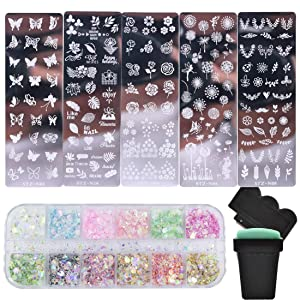 Nail Stamper Kit 5pcs Flower Leaves Butterfly Image Stamping Plate with Stamper and Scraper,1 Mix Iridescent Chunky Glitters for Women Girls Nail Art Decoration