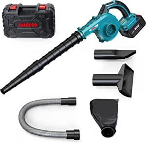 Cordless Leaf Blower, ENEACRO 20V 4AH 30000RPM Lithium Battery-Powered 2 in 1 for Sweeper & Vacuum Leaf/Dust, 5 Variable Speed Lightweight with Battery, Fast Charger & Carry Case
