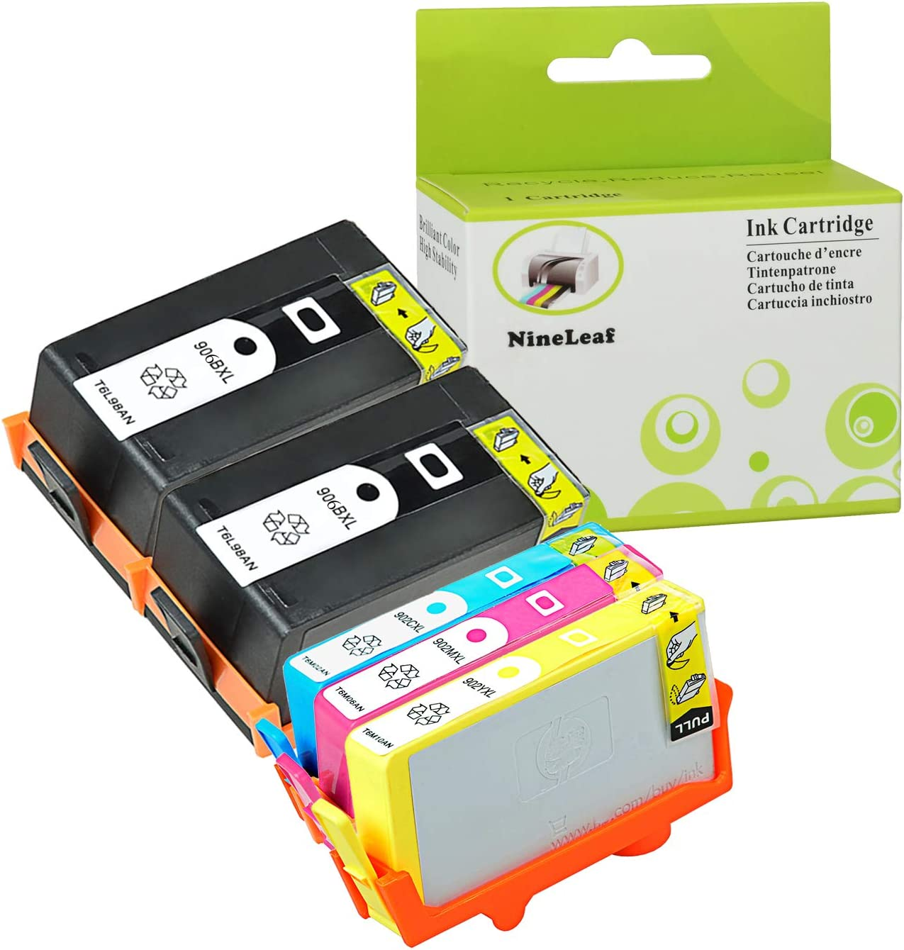 NineLeaf Remanufactured High Yield Ink Cartridge Compatible for HP 906XL /& 902XL 902 XL OfficeJet Pro 6960 6968 6970 6974 6975 6978 All-in-One Printer 2 Black,1 Cyan,1 Magenta,1 Yellow, 5-Pack