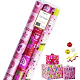 Gift Wrapping Paper - Premium Gift Wrap, 3 Rolls - 2.5 ft x 10 ft per Roll, Includes 3 Bows, 2 Ribbons (All Occasion Gift Wrap)