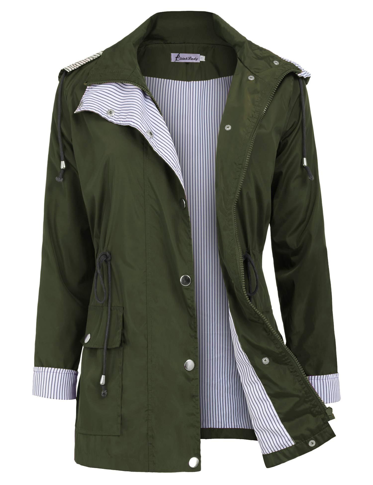 Twinklady Rain Jacket Women Windbreaker Striped Climbing Raincoats Waterproof Lightweight Outdoor Hooded Trench Coats Short Army Green XL by Twinklady