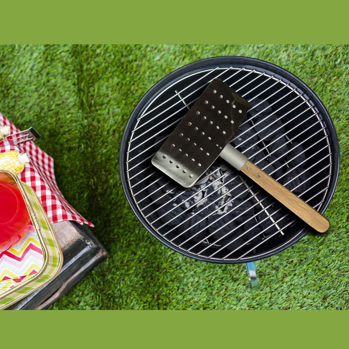 Large Stainless Steel Spatula for Grill Heavy Duty BBQ Turner Spatula Barbeque Stainless Steel Spatula with Wooden Handle Enhance Frying /& Grilling Barbecue Utensil Ideal for Turning /& Flipping