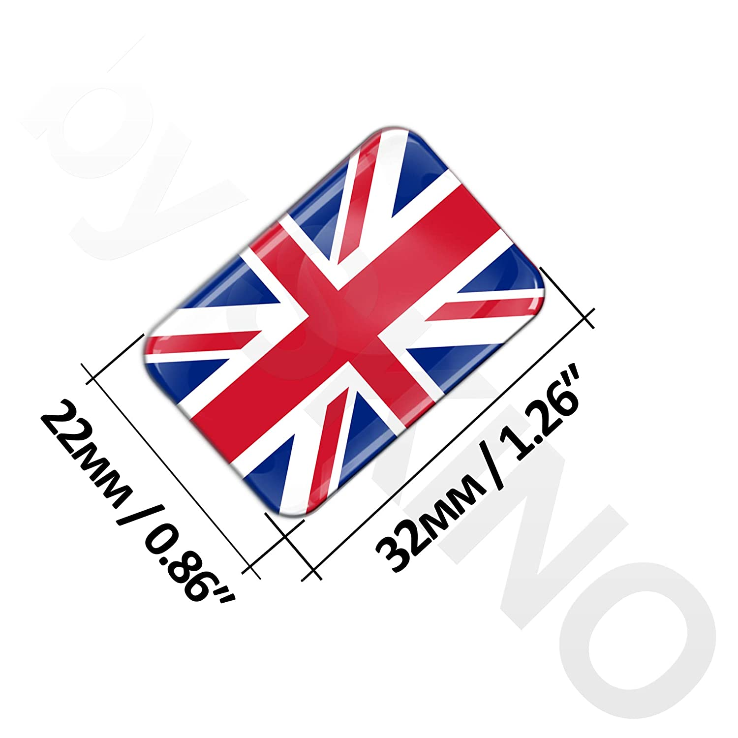 2 x 3D Flexibles Autocollant Stickers National Drapeaux Royaume-Uni UK Union Jack F 32