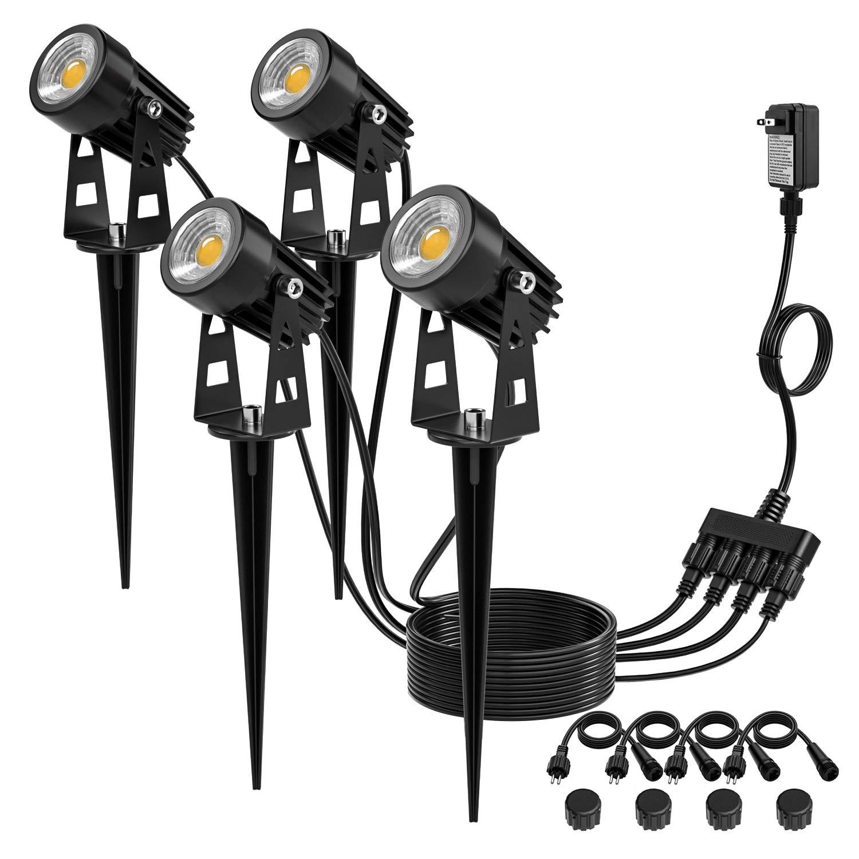 Kohree Low Voltage Landscape Lights, 12V Plug in LED Outdoor Landscape Spotlight Garden Lights Ground lights, IP65 Waterproof (Pack of 4), UL Adapter