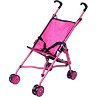 Precious Toys 0128A Hot Pink Umbrella Doll Stroller, Black Handles and Hot Pink Frame