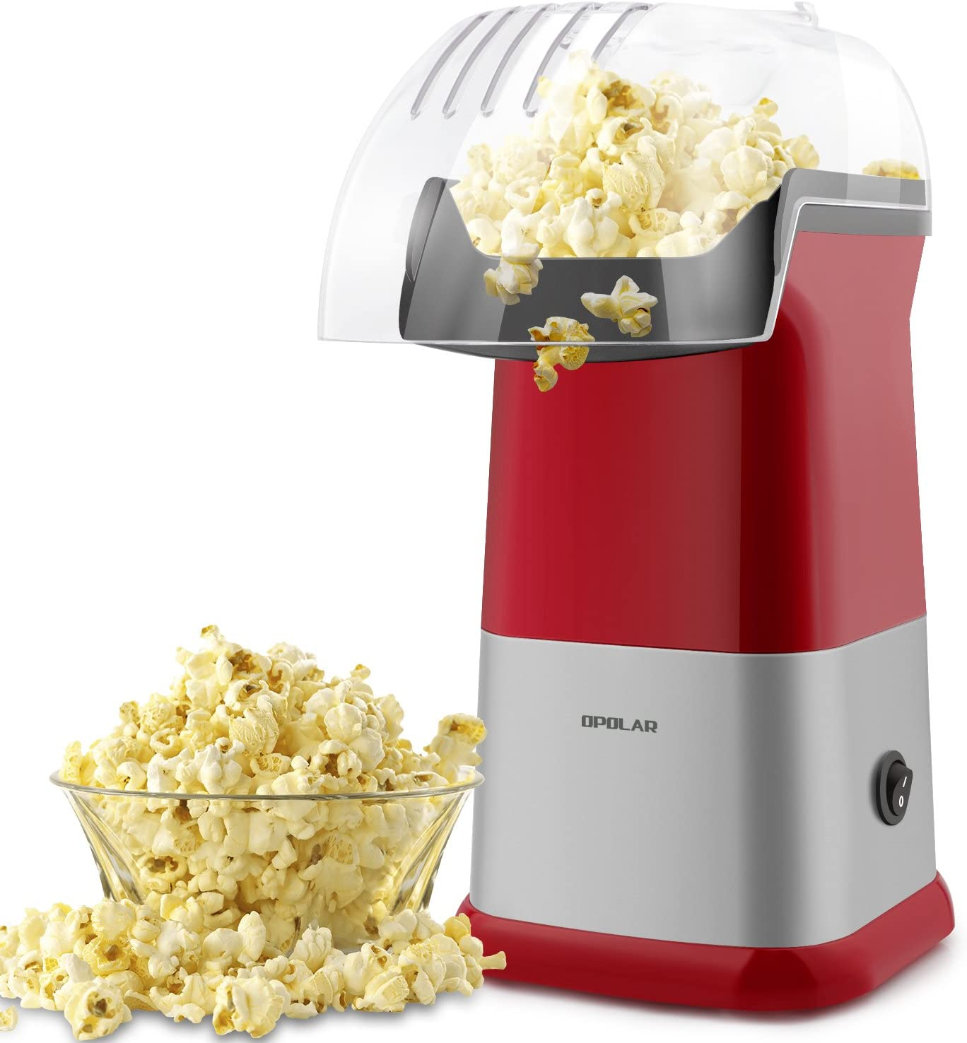 Hot Air Popcorn Poppers for Home, 1200W Popcorn Maker Machine for Healthy Snack, No Oil Needed (Red)