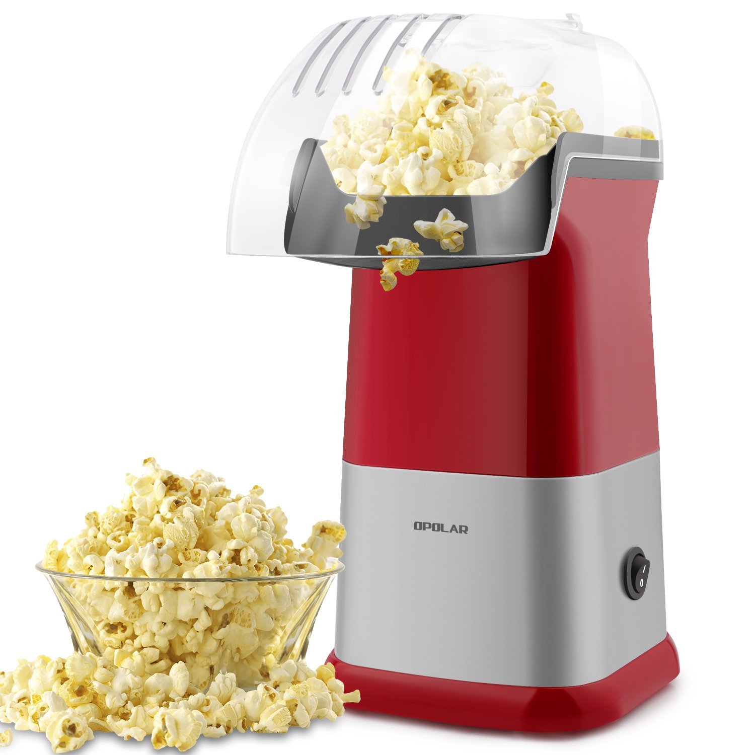 OPOLAR Fast Hot Air Popcorn Popper Machine, No Oil Popcorn Maker with Measuring Cup and Removable Top Cover, Ideal for Watching Movies and Holding Parties in Home, Healthy, 1200W, BPA-Free