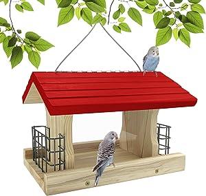 MIXXIDEA Cedar Bird Feeder Wood Bird Feeder Garden Roof Feeder with 2 Suet Cages and 2 Plastic Window Weatherproof and Water Resistant Great for Attracting Birds,Roof Top Red