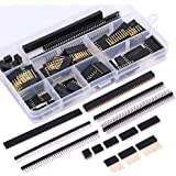 Glarks 112Pcs 2.54mm Male and Female Pin Header Connector Assortment Kit, 100pcs Stackable Shield Header and 12pcs Breakaway