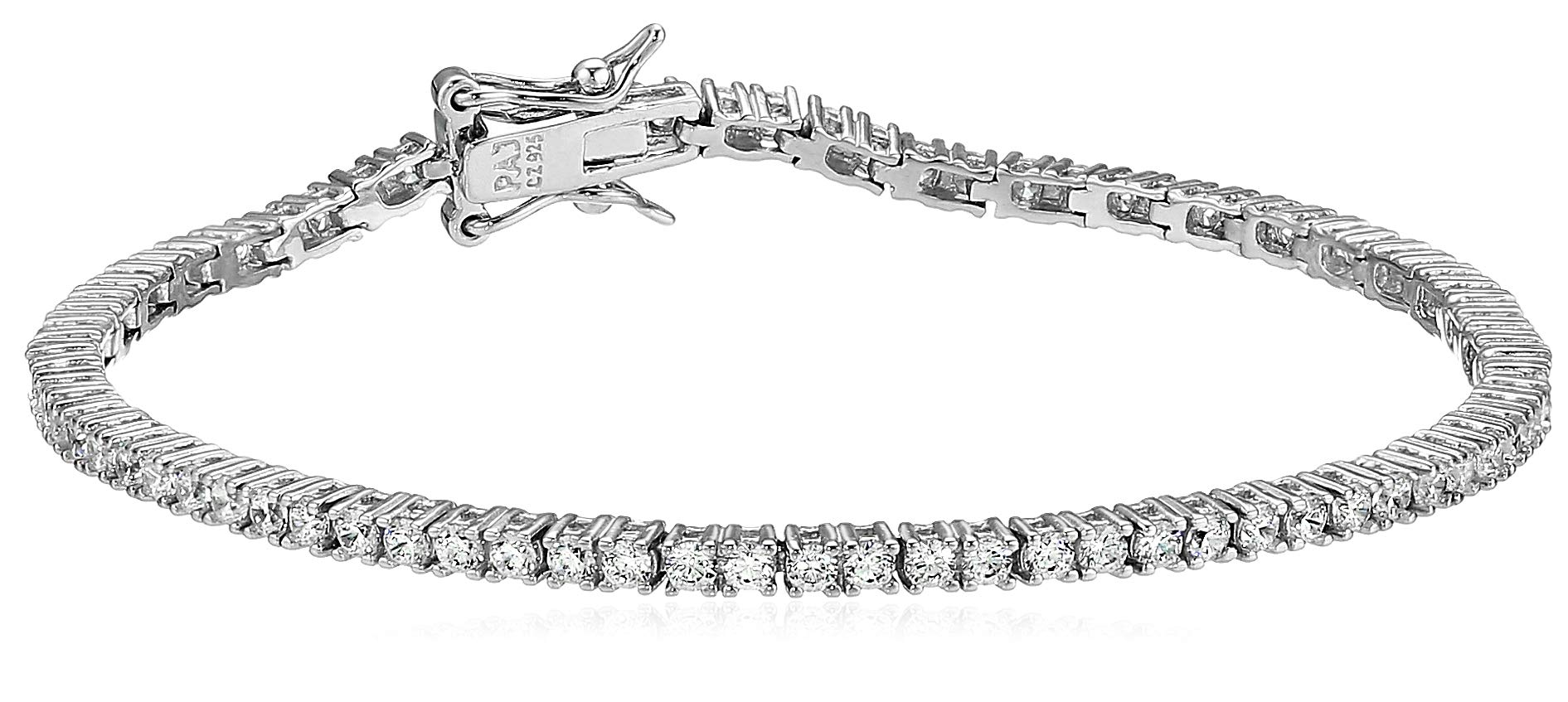 Amazon Essentials Platinum Plated Sterling Silver Round Cut Cubic Zirconia Tennis Bracelet (2mm), 7''