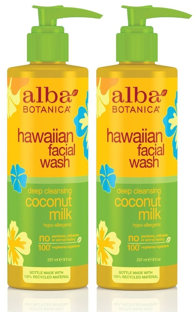 Alba Botanica Hawaiian Nourishing Face Wash, Coconut Milk, 8 Fl Oz 2 Pack - Clarins Hydra-Essentiel Intensive Moisture Quenching Bi-phase Serum 1 oz