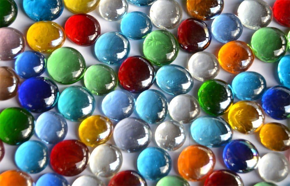 Paquete de 500g de pepitas decorativas de cristal en mosaico, multicolor y transparentes, 15a 21mm. 120piezas