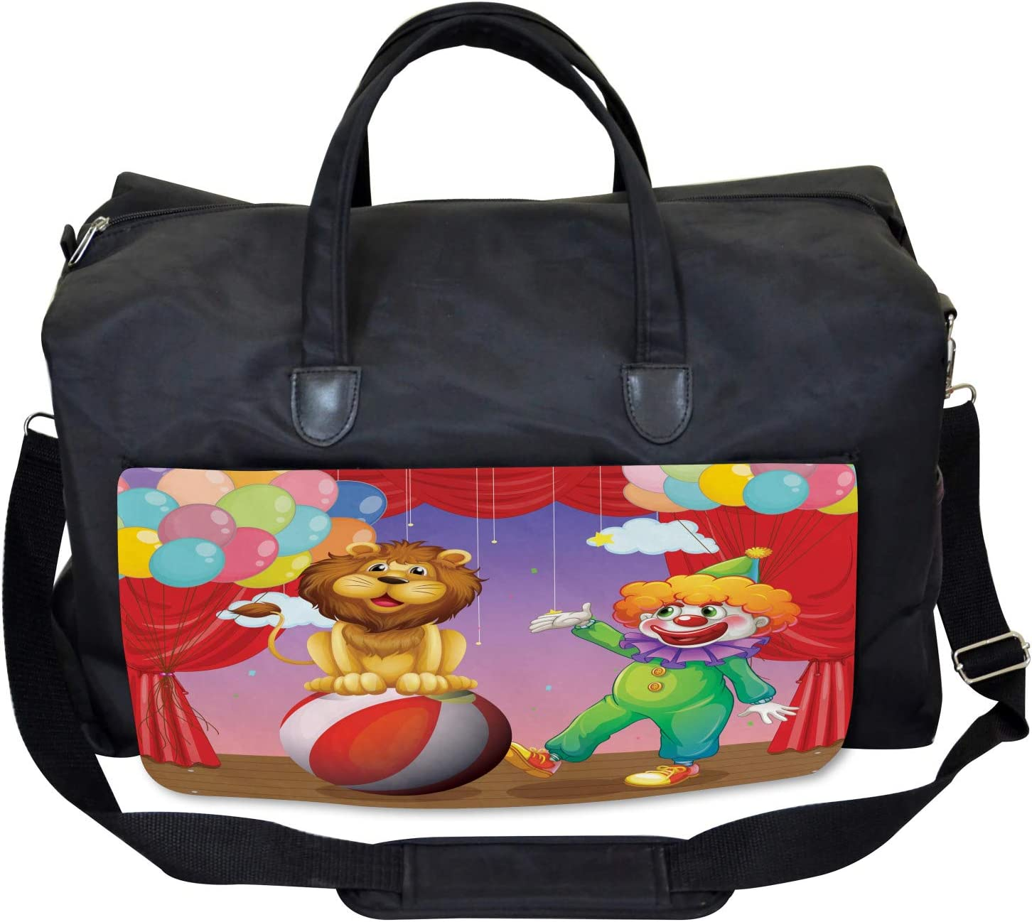 Ambesonne Circus Gym Bag Lion Clown Performance Large Weekender Carry-on