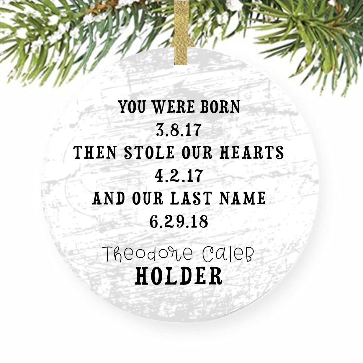 Foster Care Babys First Gotcha Day Adoption Christmas Tree Ornament Trees for Adopted Child