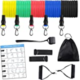 11PC Resistance Tube Band Set with Foam Handles, Ankle Straps, Door Anchor and Carry Bag | Indoor, Outdoor Multi…