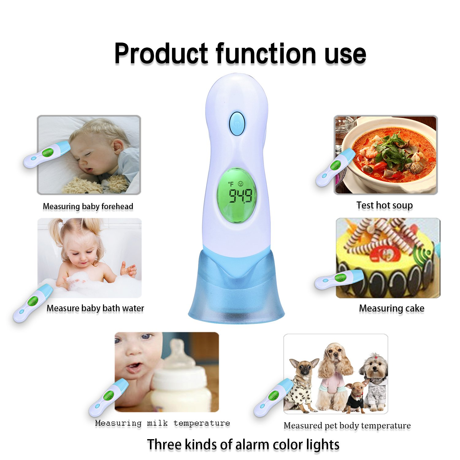 Infrared Ear Thermometer, Topoint Body Temperature Portable Handheld Forehead Digital Non Contact Thermometer with Clock
