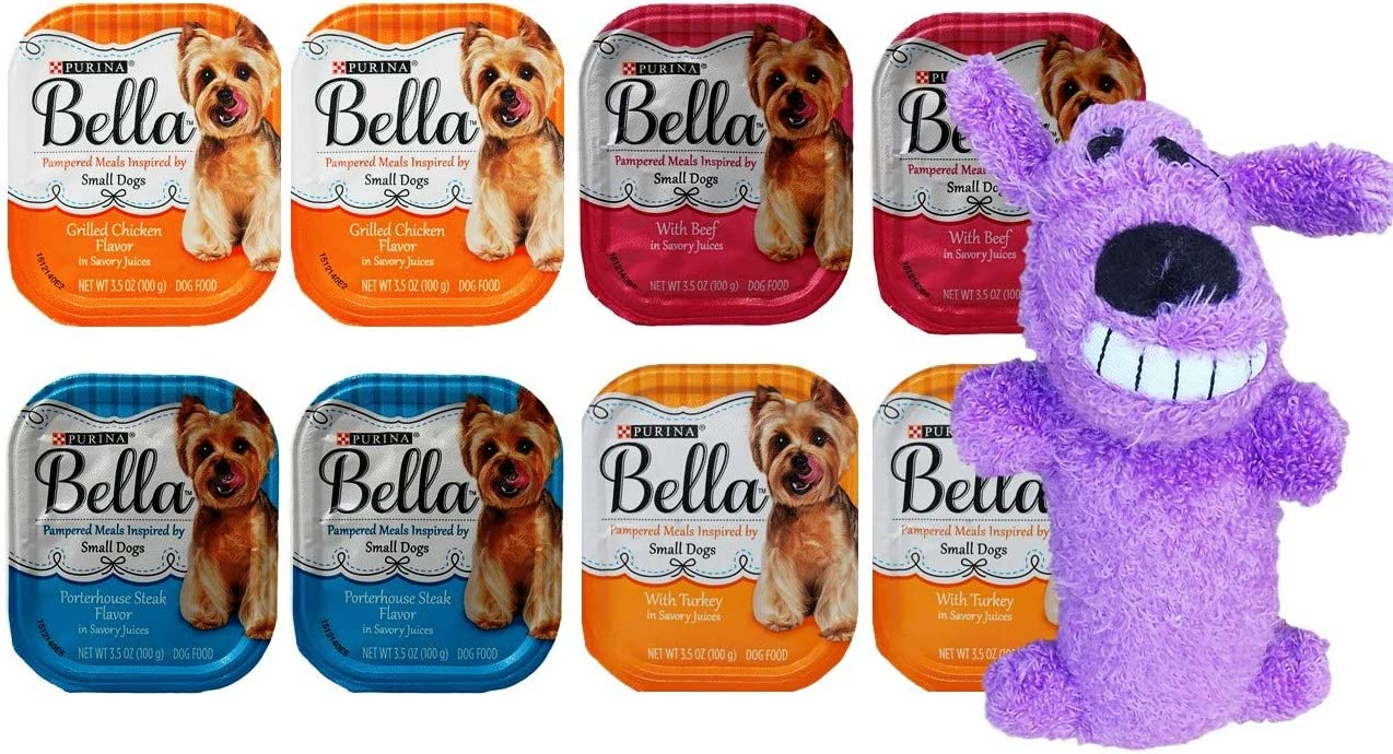 Purina Bella Small Breed Dog Food 4 Flavor 8 Can with Toy Bundle, (2) Each: Turkey, Grilled Chicken, Beef, Porterhouse Steak (3.5 Ounces)