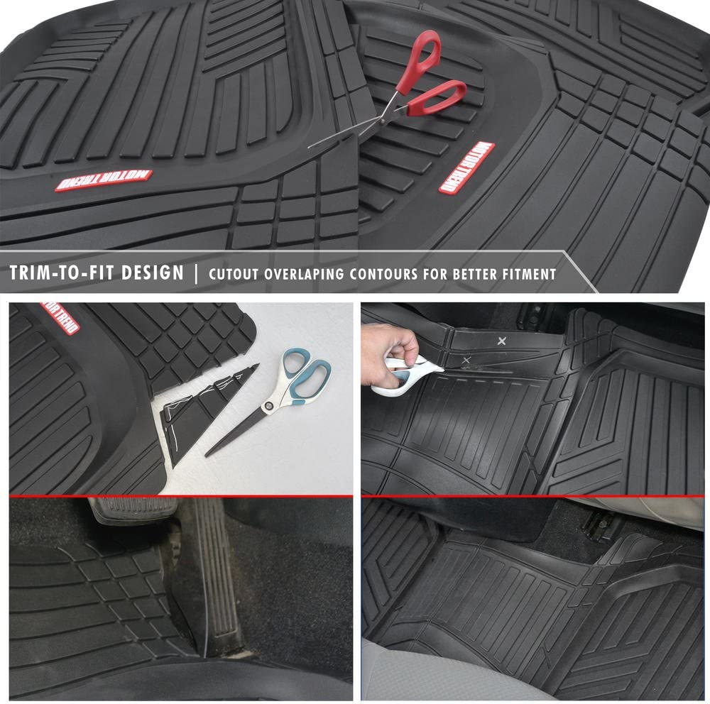 All-Climate All Weather Performance Plus Heavy Duty Liners Motor Trend 3 Row Odorless Black Deep Dish Rubber Floor Mats