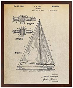 Turnip Designs Sailboat Patent Poster Sailboat Art Nautical Decor Beach House Wall Decor TDP411