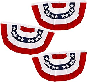 AMENON 3 Pack American Flag Bunting Large Pleated Fan, 1.5X2.8 Ft Large Patriotic Bunting Flag July 4th Decoration US Flag Banners Fourth July Red White and Blue Outdoor Decor